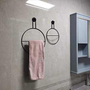 Grneric Matte Black Towel Ring with Wall Hook Bath Wall Mounted Hardware Accessory Fixture Floral Hoop Wreath Wall Decor Modern Round Hanger Drying (Big 15.8x11.8 inch)
