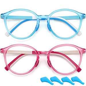 Blue Light Glasses for Kids Boys Girls Round Computer Gaming Glasses Blocking Blue Ray Anti Eyestrain Screen Glasses TR Flexible Fake Glasses (Age 4 to 10) 2 Pack (Blue+Dark Pink)