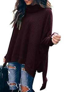 Boncasa Womens Turtleneck Pullover Sweater Long Batwing Sleeve Oversized Asymmetric Hem Slit Tunic Tops Maroon B8C3-zaohong-S