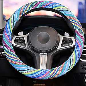LSAUTO Cute Steering Wheel Cover for Women,Blue Bohemian Steering Wheel Cover for Women.Universal 15inch Sweat Absorption Steering Wheel Cover with Coarse Flax Cloth SWC0 (Boho-blue2)