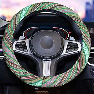 Green Steering Wheel Cover with Bohemian Style,Universal 15inch Cloth Steering Wheel Cover for Women and Gril with Sweat Absorption Steering Wheel Cover with Coarse Flax Cloth SW14 (Boho-Green2)