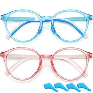 Blue Light Glasses for Kids Boys Girls Round Computer Gaming Glasses Blocking Blue Ray Anti Eyestrain Screen Glasses TR Flexible Fake Glasses (Age 4 to 10) 2 Pack (Blue+Light Pink)