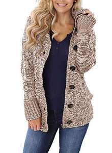 Zecilbo Womens Zip Up Hooded Cardigans Women Casual Fashion Zip Up Sweaters Khaki Small