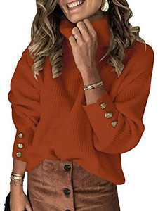 ANRABESS Women's Oversized Turtleneck Chunky Pullover Sweaters with Button Sleeves 278zhuanhong-XL