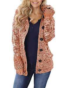 Zecilbo Womens Knit Winter Casual Cardigans Women Pocket Zipped Sweaters Orange XX-Large