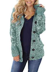 Zecilbo Womens Knit Fall and Winter Cardigans Women Hoodies Zip Up Sweaters Green X-Large