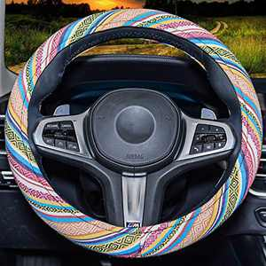 Baja Blanket Steering Wheel Cover .Universal 15inch Sweat Absorption Steering Wheel Cover with Coarse Flax Cloth SWC0 (Boho-Yellow)