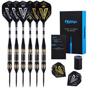 Naissgo Steel Tips Darts Set - Professional Darts Steel Tip with Brass Barrels and Extra Aluminum Shafts, O-Rings, Flights + Dart Tool and Sharpener + Gift Case (Carton 20g)