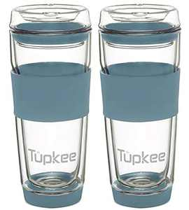 Tupkee Double Wall Glass Tumbler - 14-Ounce, All Glass Reusable Insulated Tea/Coffee Mug & Lid, Hand Blown Glass Travel Mug - Niagara - 2 Pack