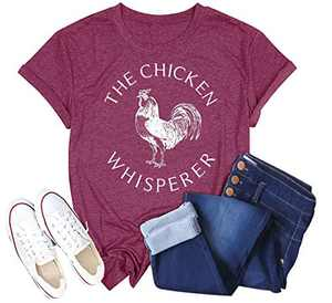 Women The Chicken Whisperer T-Shirt Funny Chicken Graphic Tops Casual Short Sleeve Tee Tops (Red, L)