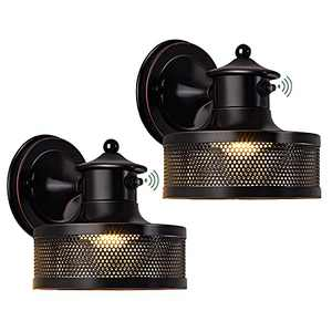 GZBtech Dusk to Dawn LED Wall Lighting Pack of 2, Exterior Waterproof Wall Sconce with Photocell Sensor & Built-in LED, Outdoor Industrial Cage Light Fixtures in Black Finish for Porch Entryway