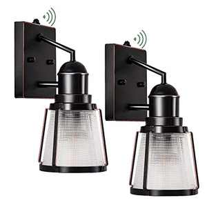 GZBtech Exterior Photocell Sensor Wall Lamp 2 Pack Lattice Style, Waterproof Dusk to Dawn Outdoor Sconce Lighting Bronze Finish, with Glass Shade for Porch Patio Garage, E26 Bulb Required