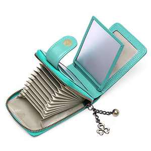 SENDEFN Womens Small Wallet RFID Blocking Leather Credit Card Holder Case 11 Slots with ID Window (Green)