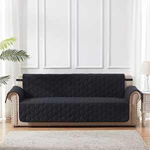 Black Furniture Protector Sofa Slipcovers 1 - Piece with Adjustable Elastic Strap and Non-Slip Backing Honeycomb Quilted Couch Cover for Kids Dogs Pets