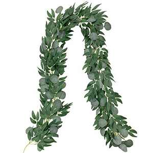 LAPONEE Artificial Eucalyptus Garland - 6.56Ft Long Faux Silver Dollar Eucalyptus Garland Wedding Backdrop Arch Wall Decor - Faux Eucalyptus Leaves Garland Table Festival Party Decoration (Green-1)