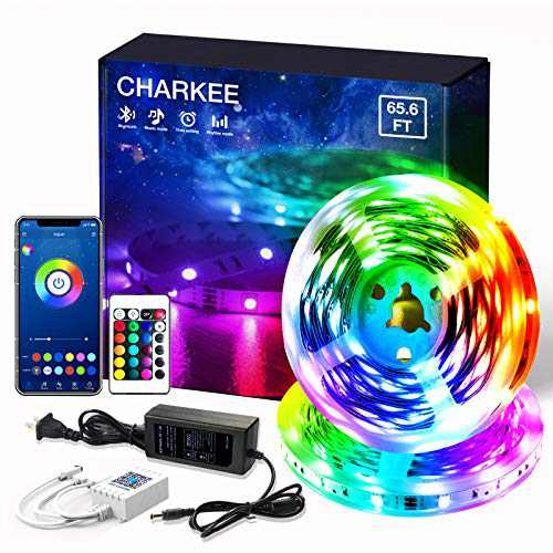 Led Lights Bluetooth 65.6ft, 2 Rolls of 32.8ft Charkee Led Strip Lights, Color Changing Flexible Led Light with Remote for Kitchen, Bedroom, Decoration