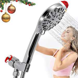 """GEMITTO High Pressure Shower Head, New Version 9-mode Hand-held Shower Head with 59'' Hose, Modern Chrome Face Rain Shower Heads for Ultra Enjoyable Shower Experience Chrome Face (4.6"""" Width)"""