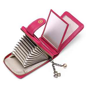 SENDEFN Womens Small Wallet RFID Blocking Leather Credit Card Holder Case 11 Slots with ID Window (Red)