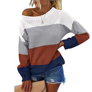 OWIN Women's Casual Striped Color Block Knit Sweater Long Sleeve Crew Neck Loose Pullover Tunic Blouse Tops Light Grey