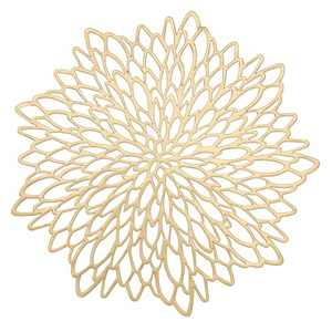WingsShop Gold Placemats Set of 6 Metallic Pressed Vinyl Round Floral Leaf Dining Table Mats Washable and Wipeable for Party Wedding Decoration