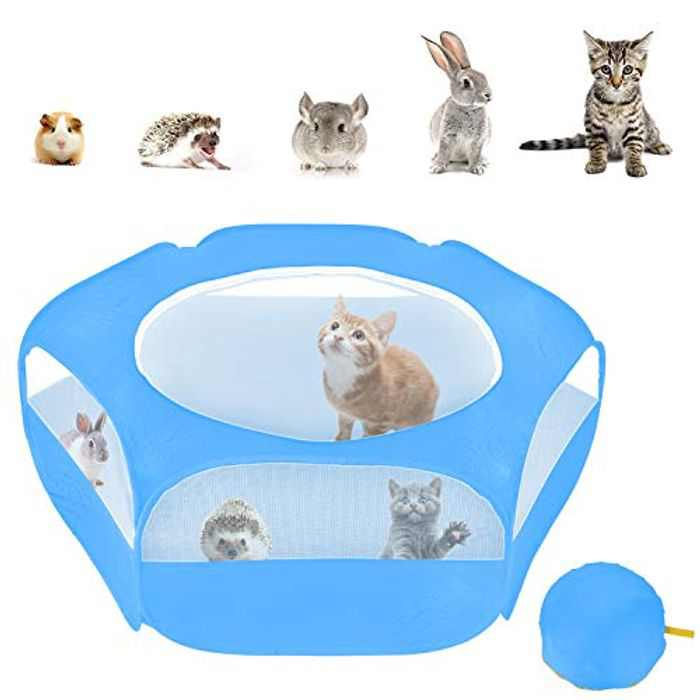 XIRGS Small Animal Playpen, Portable Folding Small Pet Cage Tent, Waterproof Outdoor Exercise Yard Fence with Top Cover Anti Escape for Kitten/Cat/Rabbits/Bunny/Hamster/Guinea Pig/Chinchillas