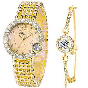 ManChDa Luxury Ladies Watch Iced Out Watch with Quartz Movement Crystal Diamond Classic Fashion Romantic + Jewelry Cuff Bracelet Set (5.Gold with Gold)