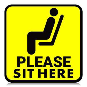 25 Pieces Please Sit Here Sticker Decal Sign, 6 Inch Maintain Distancing Chair Desk Sticker Sign, Re-Adjustable Water-proof Safety Marker for Mall Restaurant Office Grocery (Yellow)