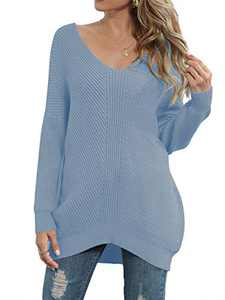 Caracilia Women's Off Shoulder Knit Jumper Long Sleeve Casual Oversized Pullover Sweater Sky Blue 2C39-tianlan-L