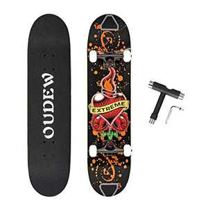 OUDEW Skateboard, Complete Skateboard 31''x 8'', 8 Layer Canadian Maple Double Kick Deck Concave Cruiser Trick Skateboards for Kids Boys Girls Youths Beginners.