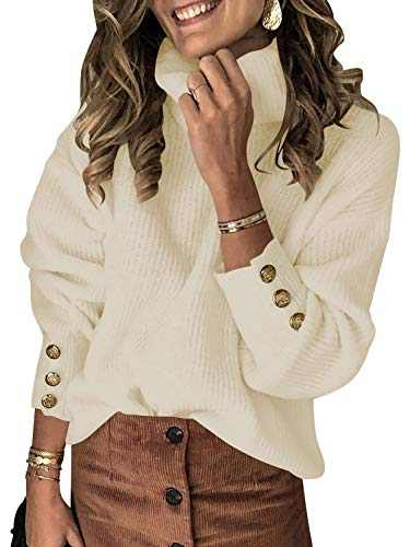 ANRABESS Womens Turtleneck Long Sleeve Chunky Knit Pullover Sweater Tops A278-kaqi-M