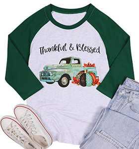 Thankful Blessed T Shirts Women Thanksgiving Pumpkin Truck Graphic Baseball Tee Tops 3/4 Sleeve Splicing Shirt Tops (Green, Large)