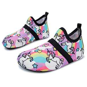 L-RUN Kids Water Shoes Boys Girls Aqua Sock for Outdoor Sports Purple 2.5-3.5=EU 34-35