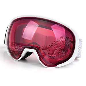 Freehawk Ski Snowboard Goggles Adjustable Anti-Fog UV Protection Winter Snow Sports Goggles Snowmobile Skiing Skating Goggles for Men Women Youth (White Frame)