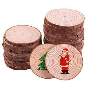 Linkax Wood Slices 30Pcs 7-8cm NO Hole Rustic Unfinished Wood Log Discs Wooden Circles for DIY Arts Crafts Halloween Christmas Ornaments Wedding