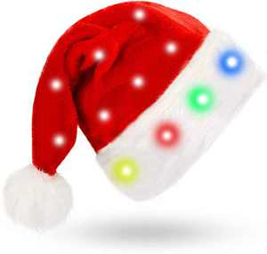 LED Santa Hat for Adults and Children Christmas Blinking Color-Changing Santa Cap with 20 Led Flash Light Red