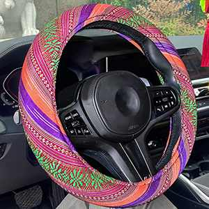 Himomet 15inch Boho Memory Flom Steering Wheel Cover for Women,Unverisal Cloth Baja Blanket Enthic Steering Wheel Cover with Pretty Driving Feel, Boho-O&P&G