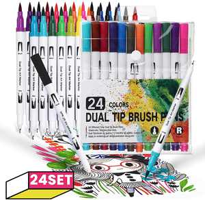 JOSEKO Couloring Pen Sets 24-color Dual Art Marker pen for Paper, Leaves, Wood Marker with Fine Tip and Brush Tip Drawing Pens