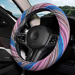 Himomet Purple Boho Steering Wheel Cover for Women,Unverisal 15inch Memory Flom Cloth Baja Blanket Enthic Steering Wheel Cover with Pretty Driving Feel,Boho Steering Wheel Cover,Rainbow-Purple