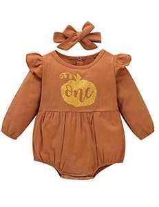 Shalofer Baby Girl 1st Birthday Outfit One Year Old Birthday Bodysuit with Headband (Orange02,6-12 Months)