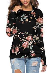 KISSMODA Womens Casual Long Sleeve Pullover Sweatshirt Cowl Neck Floral Shirt Tops Black