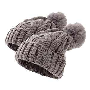 Mom and Baby Matching Hats Winter Knit Mommy and Me Beanie Set Pom Grey