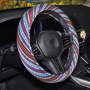 15inch Baja Blanket Universal Steering Wheel Cover for Women, Memory Foam Cloth Steering Wheel Cover Boho with Ethnic Style Coarse Flax Cloth,Sky-Green