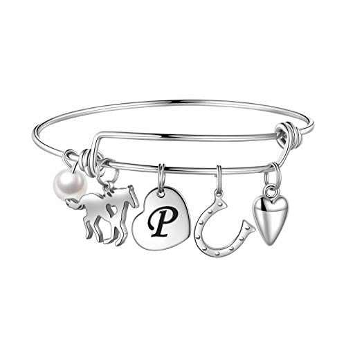 Anoup Horse Gifts for Girls Women Bracelet, Stainless Steel Horse Bracelet Engraved 26 Letters Initial P Charm Bracelet Dainty Horse Jewelry Horse Lover Gifts for Women Girls Horse Lovers