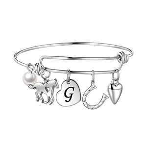 Anoup Horse Gifts for Girls Women Bracelet, Stainless Steel Horse Bracelet Engraved 26 Letters Initial G Charm Bracelet Dainty Horse Kids Jewelry Horse Gifts for Kids Girls Horse Lovers