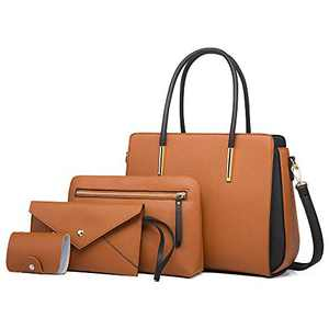 Handbags for Women Large Shoulder Bag Ladies Crossbody Bag Pu Leather 4pcs Purse Set (Brown)