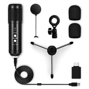 USB Microphone, Maxuni Noise Cancelling USB Condenser Microphone with Mute Button/Echo/Volume Knob, Plug & Play Studio Micphones Kit for Gaming, Skype, Podcast, Compatible with Mac/PC/Laptop