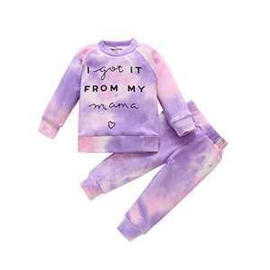 Little Girls Tie Dye Pajamas Long Sleeve Pant Outfit Sets 2PCS Printed Striped Cotton T-Shirt Top Pants Set Homewear Nightwear 5T Purple