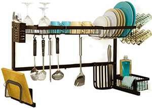 Over Sink Dish Drying Rack for Counter,HEOMU Length Adjustable Stainless Steel Dish Rack with Utensil and Chopstick Holder, Storage Basket (Brown)