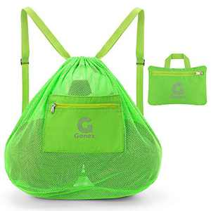 Gonex Large Mesh Sports Bag, Drawstring Ball Backpack with Shoulder Strap for Basketball Football Volleyball Toy, Bright Green