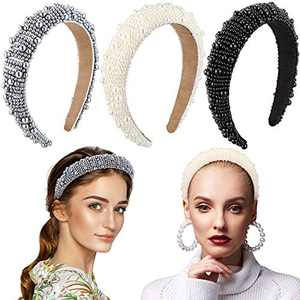 3 Pieces Padded Rhinestone Faux Pearl Beaded Headband Glitter Hairband Wedding Headpiece Wide Edge Headwear for Women Girls Party Supplies (Faux Pearl Style)